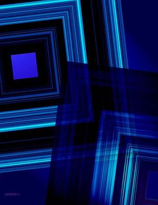 Geometric Digital Art - Blue Tones by Mario Perez