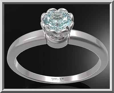 Custom Engagement Ring Jewelry - Blue Topaz Sterling Silver Engagement Ring - Delicate Flower Ring by Roi Avidar