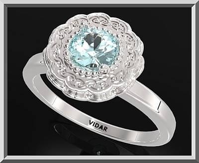 Custom Engagement Ring Jewelry - Blue Topaz Sterling Silver Engagement Ring - Statement Flower Ring by Roi Avidar