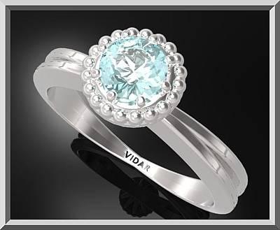 Custom Engagement Ring Jewelry - Blue Topaz Sterling Silver Engagement Ring With Little Silver Balls by Roi Avidar