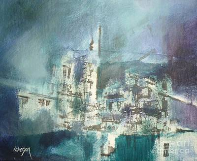 Painting - Blue Town by Donna Acheson-Juillet