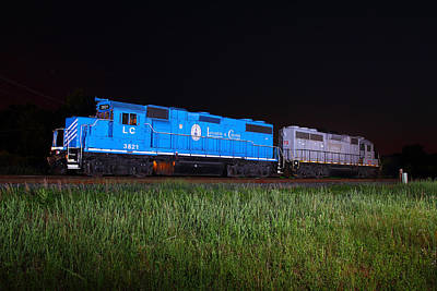 Photograph - Blue Train At Night by Joseph C Hinson Photography