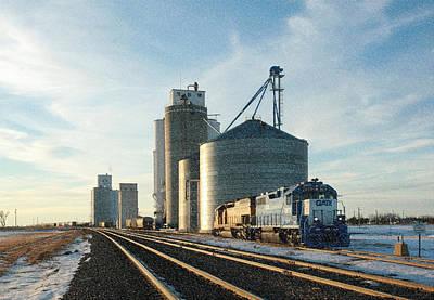 Art Print featuring the photograph Blue Train Blue Sky by Shirley Heier