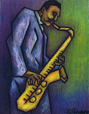 Saxophone Player Painting - Blue Train by Kamil Swiatek