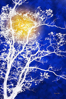 Nature Abstract Mixed Media - Blue Tree Art by Christina Rollo