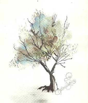 Newton Mixed Media - Blue Tree by Debralyn Skidmore
