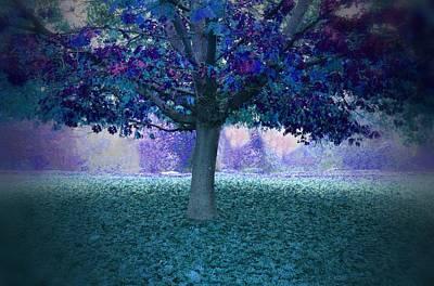 Blue Tree Monet Painting Background Art Print