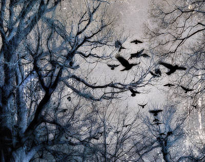Flock Of Bird Photograph - Blue Trees And Ravens by Gothicrow Images