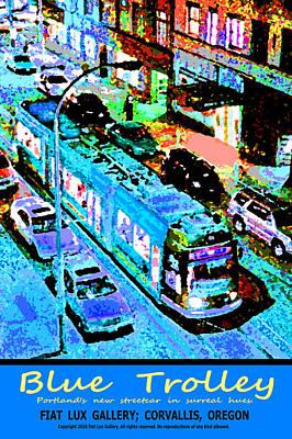 Blue Trolley Portland Print by Michael Moore