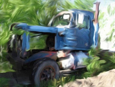 Mixed Media - Blue Truck In Trees by Dennis Buckman