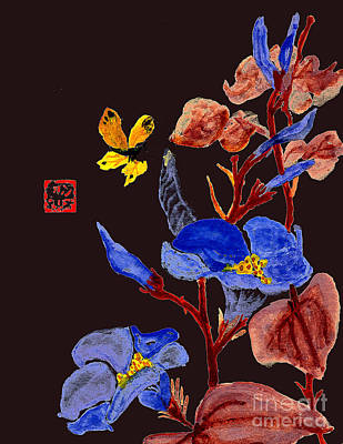 Photograph - Blue Trumpet Flowers  Chinese Watercolor Painting by Merton Allen
