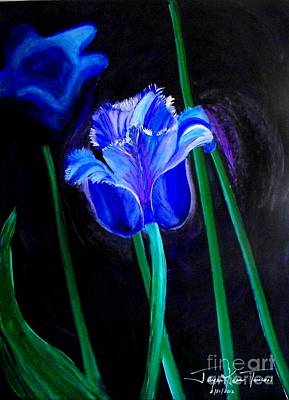 Painting - Blue Tulip Variation by Jayne Kerr