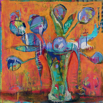 Wall Art - Painting - Blue Tulips by Leslie Rock