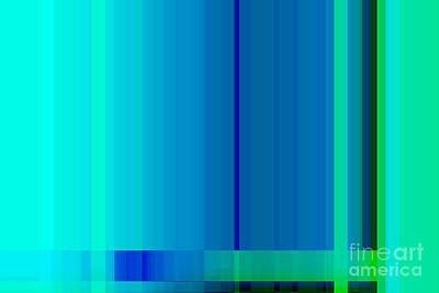 Blue Turquoise Green Lines Abstract Art Print