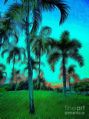 Palm Trees Rights Managed Images - Blue Twilight Royalty-Free Image by Ian Gledhill