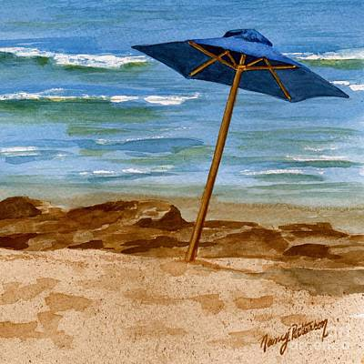 Painting - Blue Umbrella 2  by Nancy Patterson