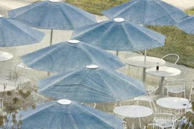 Photograph - Blue Umbrellas And A Cola by Cindy Garber Iverson