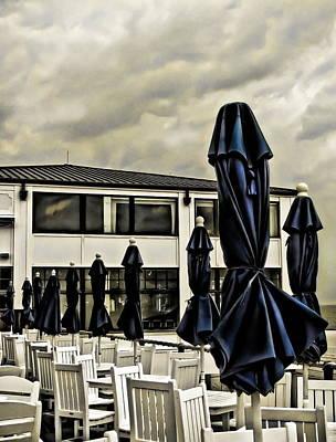 Blue Umbrellas Art Print by Colleen Kammerer
