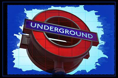 London Tube Digital Art - Blue Underground by Daniel Hagerman