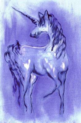 Blue Unicorn Art Print by Carol Rowland