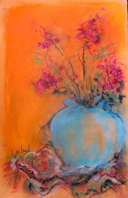 Pastel - Blue Urn Fuchia Flowers by Josie Taglienti
