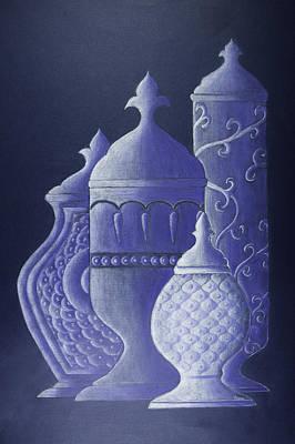 Blue Urns Art Print by Hema Narayanan