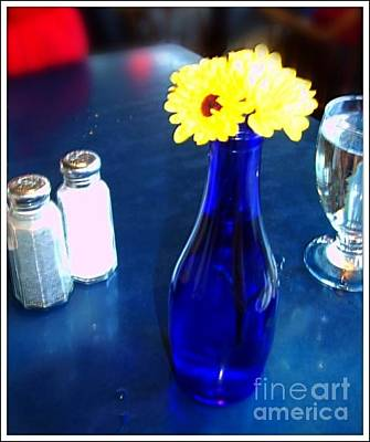 Photograph - Blue Vase And Daisies  by Becky Lupe