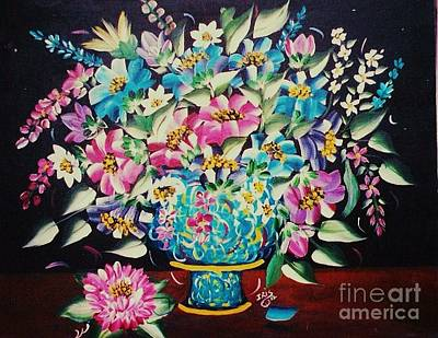 Painting - Blue Vase And Flowers by Iris  Mora