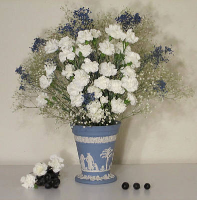 Still Life Photograph - Blue Vase Floral With Grapes by Good Taste Art