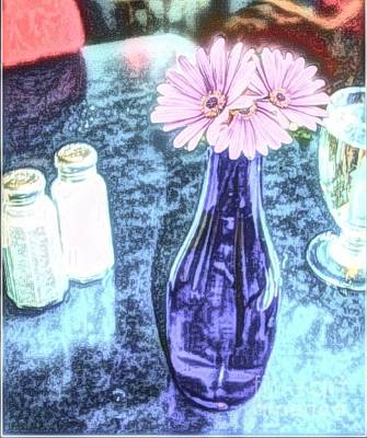 Photograph - Blue Vase Lavender Gerbers by Becky Lupe