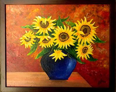 Blue Vase Sunflower Original by Adolfo Flores