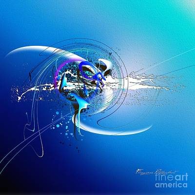 Abstrakt Digital Art - Blue Velvet by Franziskus Pfleghart