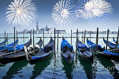 Redeemer Photograph - Blue Venice Fireworks by Delphimages Photo Creations