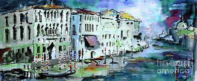 Venice Italy Ginette Painting - Blue Venice Grand Canal Italy Painting by Ginette Callaway