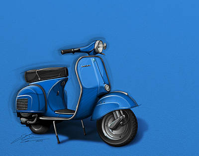 Urban Art Digital Art - Blue Vespa by Etienne Carignan