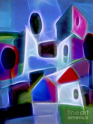 Abstract Digital Digital Art - Blue Village by Lutz Baar