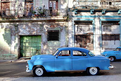 Photograph - Blue Vintage American Car Parked On A by Lee Frost / Robertharding