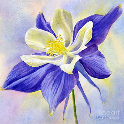 Blue Violet Columbine Blossom Original by Sharon Freeman