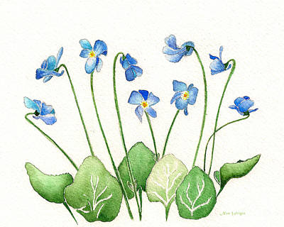 Art Print featuring the painting Blue Violets by Nan Wright