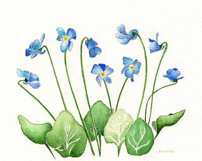 Blue Violets Art Print by Nan Wright