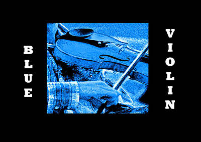 Digital Art - Blue Violin by Joseph Coulombe