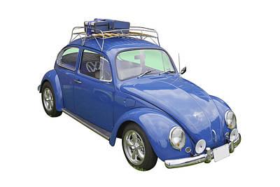 Punch Digital Art - Blue Volkswagen Beetle Punch Buggy by Keith Webber Jr