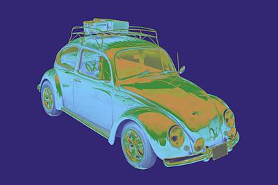 Collectible Sports Art Digital Art - Blue Volkswagen Beetle Punch Buggy Modern Art by Keith Webber Jr