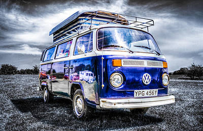Blue Vw Campervan Art Print