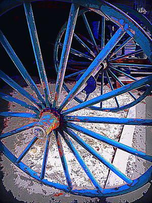 Photograph - Blue Wagon Wheels by Sheri McLeroy