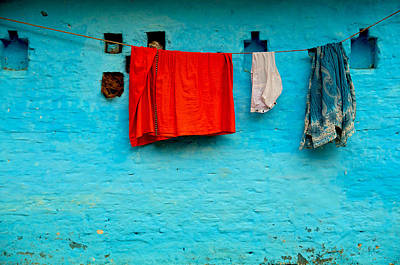 Photograph - Blue Wall Hangings by Valerie Rosen