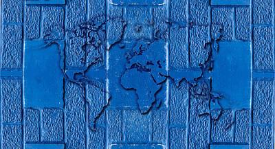 Blue Wall World Map Art Print by Hakon Soreide