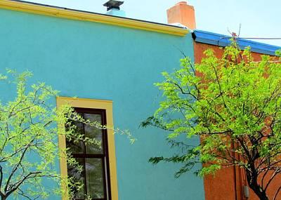Art Print featuring the photograph Blue Wall Yellow Window by Brenda Pressnall