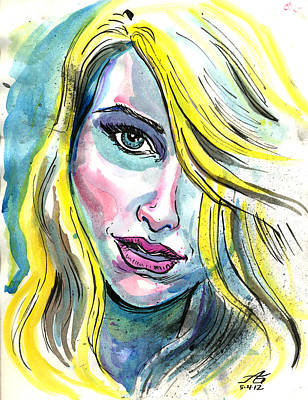 Mixed Media - Blue Water Blonde by John Ashton Golden