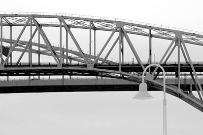 Photograph - Blue Water Bridge Abstract Bw by Mary Bedy